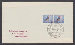 South Africa Sc 254, ½c Natal Kingfisher pair on 1964 BONTEBOK PARK cover