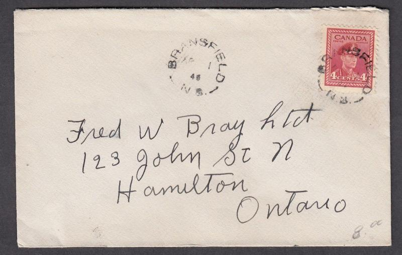 NEW BRUNSWICK SPLIT RING TOWN CANCEL COVER BRANSFIELD