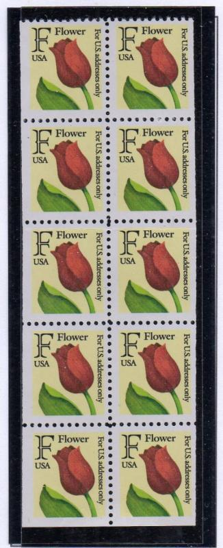 United States Sc 2520a 1991 F Flower stamp booklet pane mint NH
