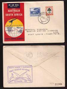 South Africa, 1952 first regular air service cover to Australia      -BN48