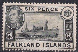 Falkland Islands 1949 KGV1 6d Discovery 11 MM SG 156 ( F264 )
