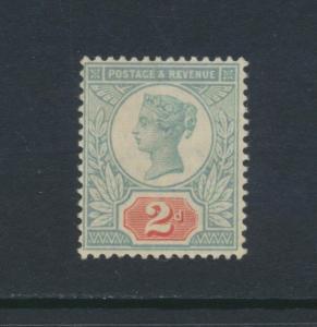 GB 1887-92 SG#199, 2d GREEN & SCARLET, VF MLH (SEE BELOW)