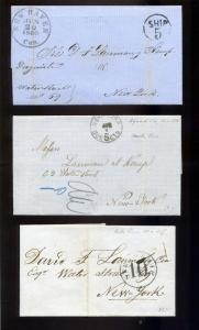 7  Stampless Covers Puerto Rico to New York, all 19th Century w/ Better Markings
