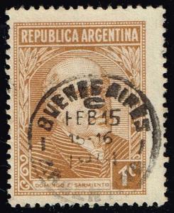 Argentina #419 Domingo Sarmiento; Used (0.25)