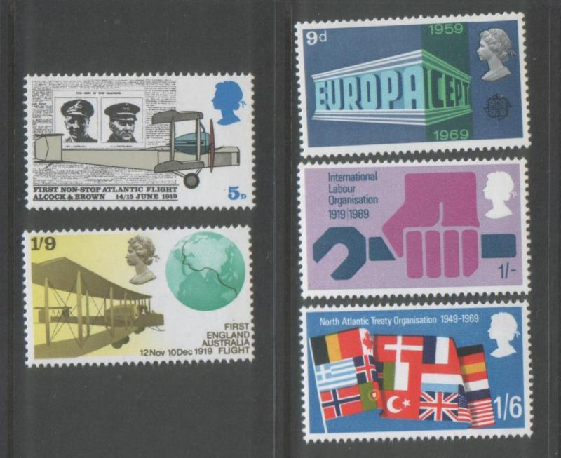 Great Britain 1969 Anniversaries (5) Scott # 584-88