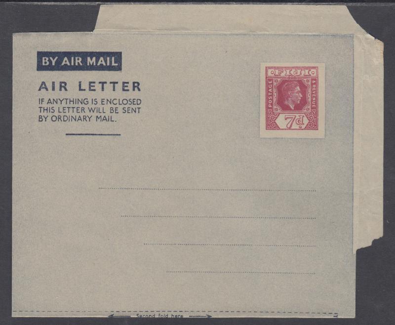 Fiji H&G FG1 mint 1947 7p KGVI Aerogramme