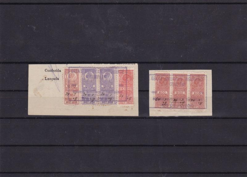brazil revenue stamps on piece ref 12086