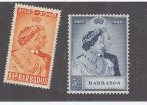 BARBADOS # 210-211 VF-MNH 1948 KING GEORGE VI SILVER WEDDING-SET#2 CAT VALUE $18