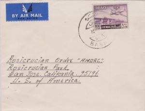 Iraq 100f Plane over Diyala Railway Bridge c1964 Basrah, Sor Airmail to San J...