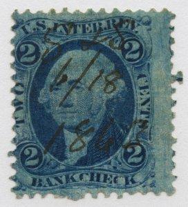B62 U.S. Revenue Scott R5c 2-cent Bank Check manuscript cxl dark blue plate wash