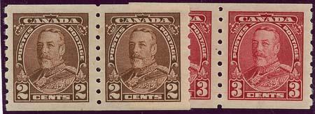 Canada USC #229-230 1935 2c & 3c Mint KGV Coil Pairs - VF-H-LH Cat. $90.
