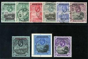 Ascension 1922 KGV Overprint set complete very fine used. SG 1-9. Sc 1-9.