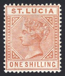 St Lucia 1885 1s Org Brn Perf 14 Wmk CA DIE I SG 36 Sc 36 LMM/MLH Cat£375($491)