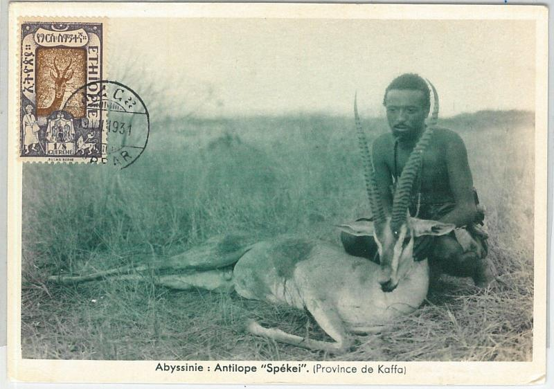 59109  -  ETHIOPIA - POSTAL HISTORY: MAXIMUM CARD 1931  -  ANIMALS Hunting