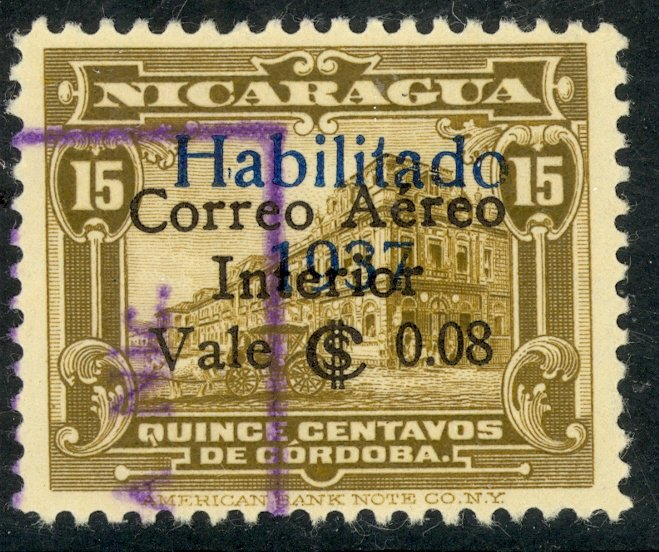 NICARAGUA 1937 8c on 15c Bister Brown Surcharged Airmail Sc C181 VFU