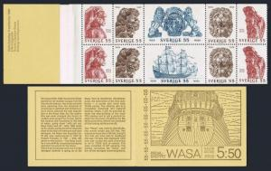 Sweden 825-830a booklet,MNH.Michel 644-649 MH 21. Warship Wasa,1628.1969.