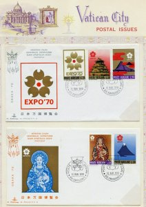 VATICAN CITY 1970 EXPO SCOTT#479/83 SET OF TWO KIM FIRST DAY  COVERS