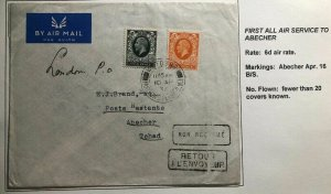 1936 London England First Flight Airmail Cover FFC To Abesher Chad 20 Flown !