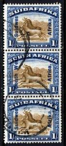 SOUTH WEST AFRICA KG V 1927 One Shilling Brown & Blue STRIP SG 51 VFU