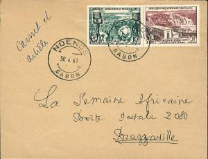 French Equatorial Africa 5F and 10F FIDES 1961 Ndende, Gabon Airmail to Brazz...