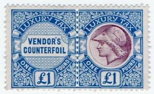 (I.B) George V Revenue : Luxury Tax £1 (colour trial)