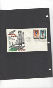 United Nations 86-7  World Bank  FDC Rare Hand Colored Cachet