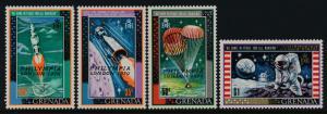 Grenada 379-82 MNH Space, Moon Landing, Philympia o/p