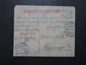 Germany 1917 Bischofswerda POW Cover to Denmark - Z9946