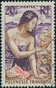 French Polynesia 1958 Sc#190,SG12 20f Polynesian Girl on beach FU