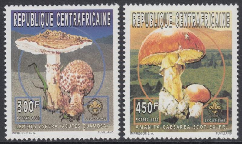 XG-AN763 CENTRAL AFRICAN - Mushrooms, 1997 Nature, 2 Values MNH Set