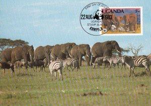 Uganda 1983 Maxicard Sc #371 5sh African elephant WWF