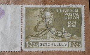 Seychelles 1949 UPU Two Rupee 25 SG 157 used