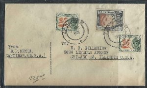 ZANZIBAR  (PP2608B) 1958  SULTAN 5CX2+25C   COVER TO USA
