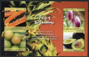 ANTIGUA 2017 FRUITS OF THE CARIBBEAN  SET OF TWO SHEETS MINT NH