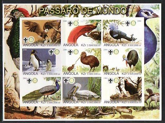 Angola, 2000 Cinderella issue. Birds on an IMPERF sheet of 9.