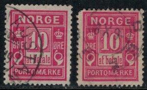 Norway #J3,3a  CV $25.90