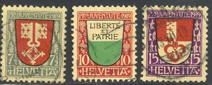 Switzerland  B12-14  used  VF -  Lakeshore Philatelics