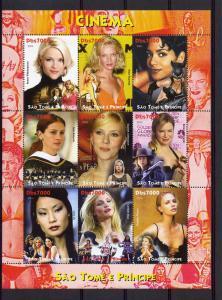 St.Thomas and Principe 2004 Actors & Actresses 3 Sheetlets of 9 (27 values) MNH
