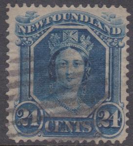 Newfoundland - #31 Used 1865 24c Victoria Thin Paper -Fine