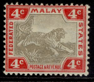 MALAYSIA - Federated Malay EDVII SG36a, 4c grey & rose, M MINT. Cat £50.