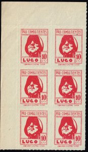 SPAIN STAMP SPAIN CIVIL WAR STAMPS LUGO 10c RED MNH BLK OF 6
