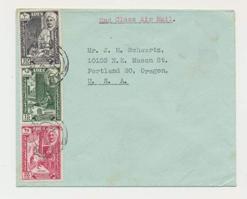 ADEN HADHRAMAUT 1952 AIRMAIL COVER TO USA, 10+15+25c RATED