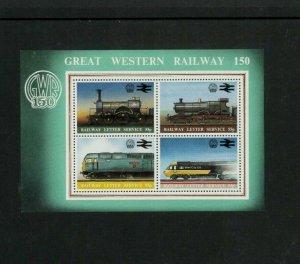 Australia Local GWR Trains Souvenir Sheet. Cat.50.00 (5.00 x 10)