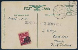 CANAL ZONE #J2 ON PICTURE POSTCARD WITH 2¢ POSTAGE DUE CV $275.00 BQ9927