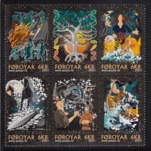 Faroe Islands 2001 MNH Sc #396 Block of 6 Nordic Myths and Legends
