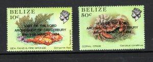 Belize SC715-716 Overprint.VisitOfLordArchbishopOfCanterbury March1984 MNH;84