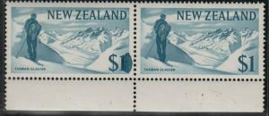NEW ZEALAND 1967 $1 Glacier - LARGE INK BLOB on value - MNH in pair........59583