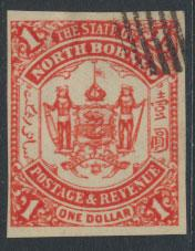 North Borneo  SG 83 imperf Scarlet  please see scans & details