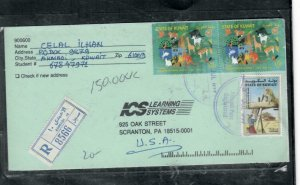KUWAIT COVER (PP2812B)  1999 3 STAMPS ON REG COVER AHMADI TO USA