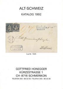 Honegger: Sale # Net Price  -  Alt-Schweiz Katalog 1992, ...